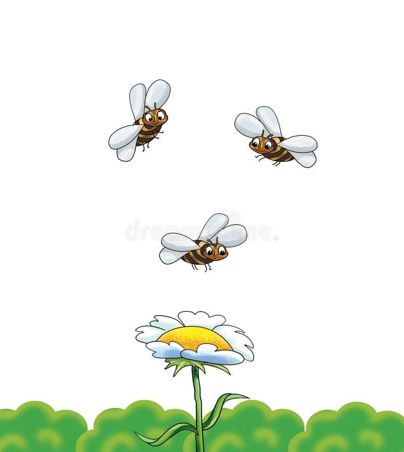 Bijen en Bloem vector illustratie