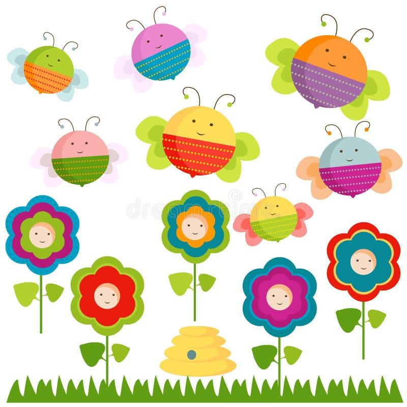 Bijen en bloemen royalty-vrije illustratie