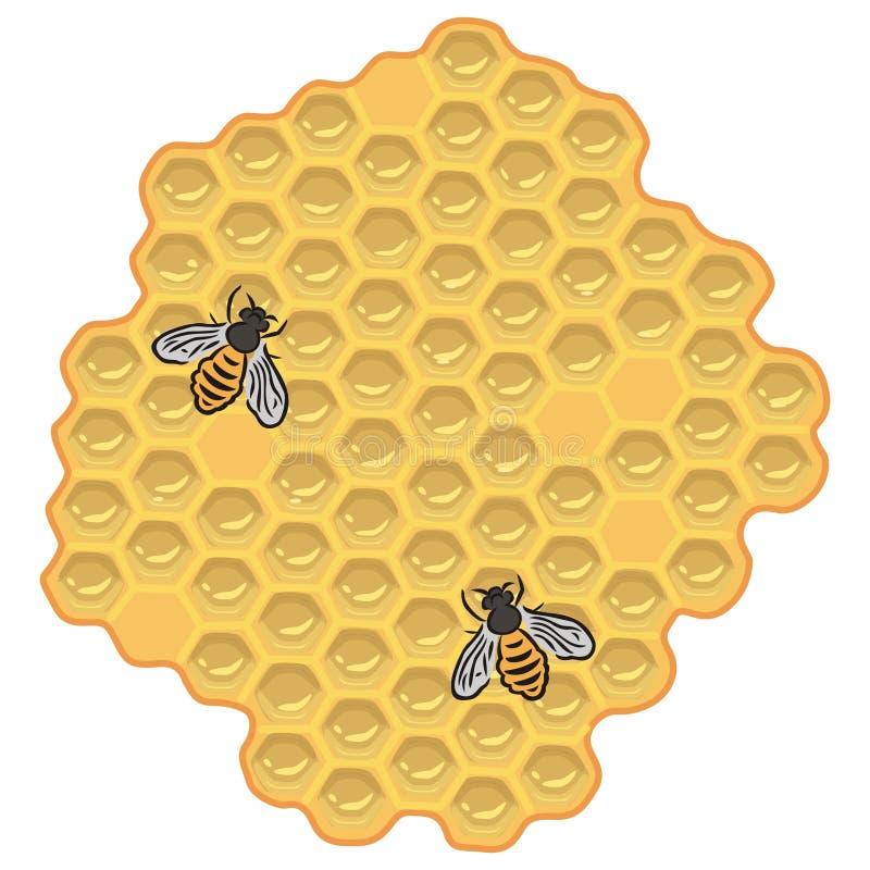Bijen en honing royalty-vrije illustratie