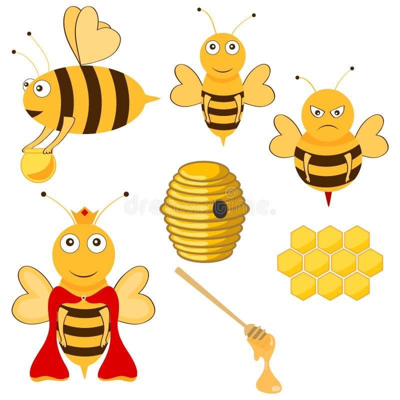 Bijen en honing stock illustratie