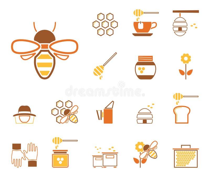 Bijen & Honing - Iconset - Pictogrammen stock illustratie