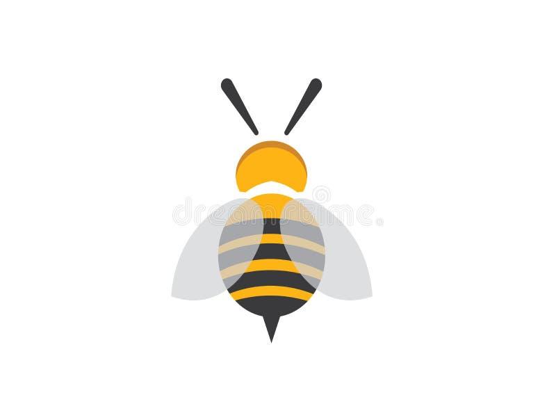 Bijen open vleugels en vlieg voor de vector van het embleemontwerp royalty-vrije illustratie