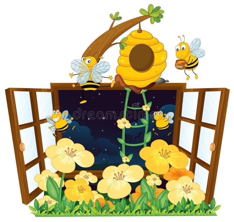 Bijen, vogelhuis en venster stock illustratie