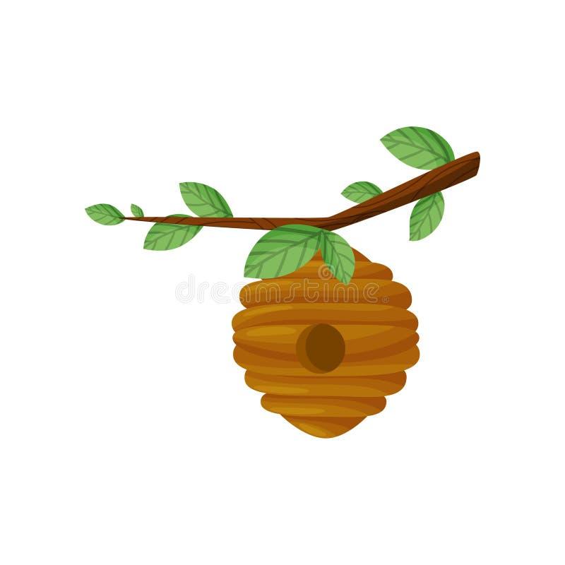 Bijenbijenkorf op een boomtak Vector illustratie royalty-vrije illustratie