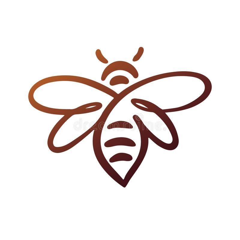 Bijenembleem, bij, honing stock illustratie