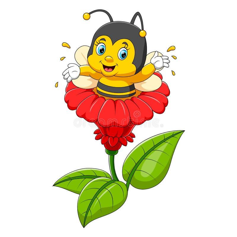 Bijenkarakter op de bloem vector illustratie