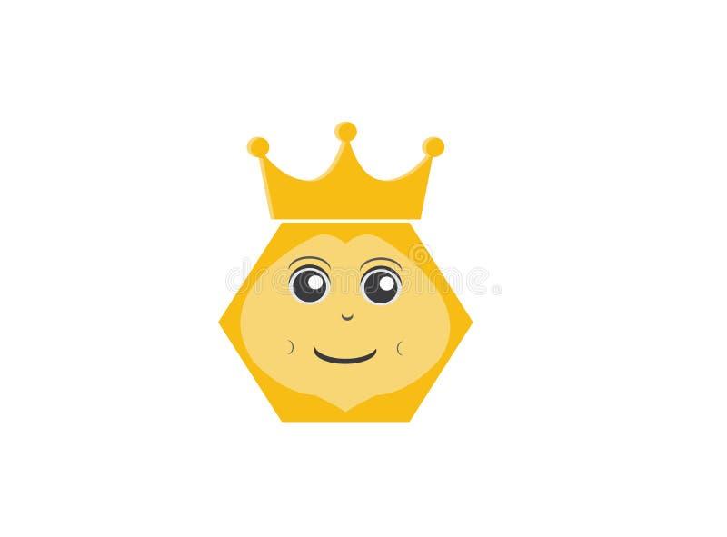 Bijenkoningin een hexagon bijen hoofdglimlach met kroon voor de vector van het embleemontwerp, insectpictogram stock illustratie