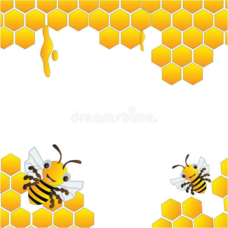 Bijenkorf en gelukkig bijenkader royalty-vrije illustratie