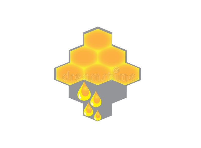 Bijenkorf met dalingen van honing voor vector, zuiver de honingspictogram van het embleemontwerp royalty-vrije illustratie