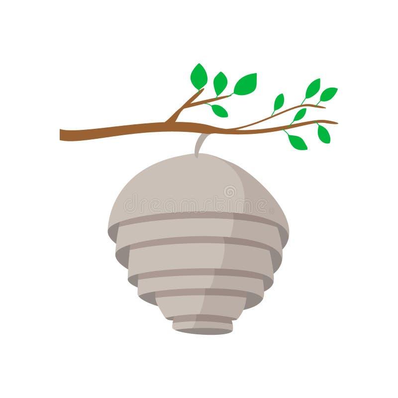 Bijenkorf op het beeldverhaalpictogram van de boomtak vector illustratie