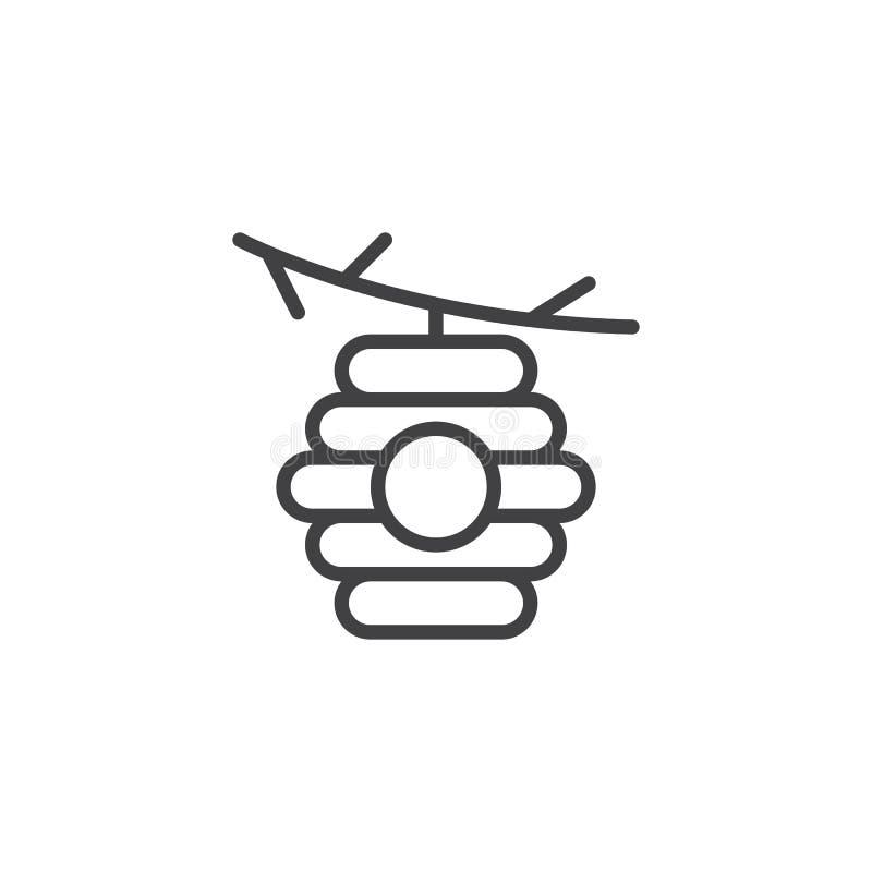 Bijenkorf op het pictogram van het takoverzicht stock illustratie