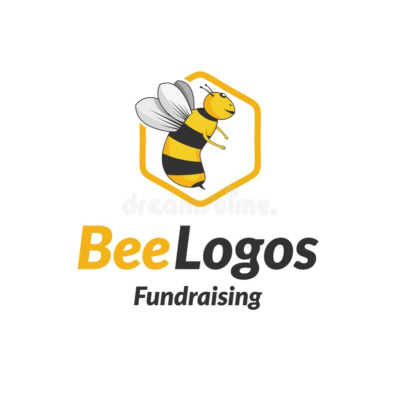 Bijenpictogram Logo Vector royalty-vrije stock afbeelding