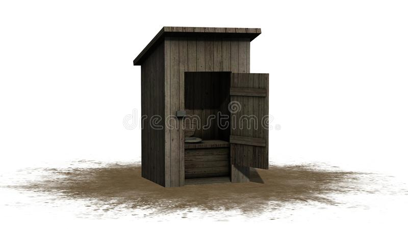 Bijgebouwtoilet - op witte achtergrond wordt geïsoleerd die royalty-vrije illustratie