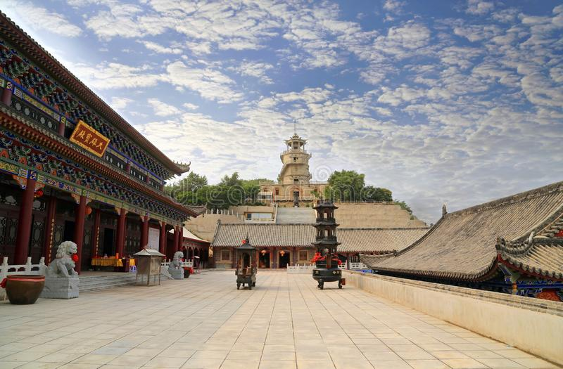 Bijia mountain jinzhou Chinese temple architectur. China jinzhou to sanqing mountain pavilion is the island`s most distinctive architecture, a castle in the stock photos