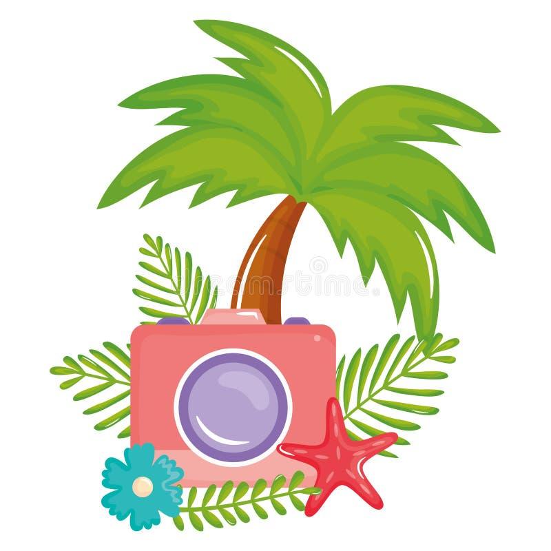 Bijkomende pictogram van de camera het fotografische zomer vector illustratie