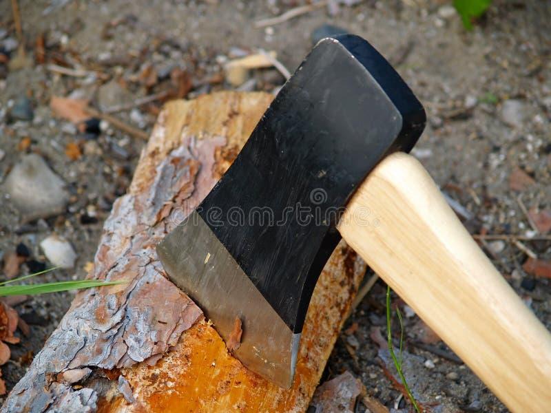 Bijl in brandhout stock foto