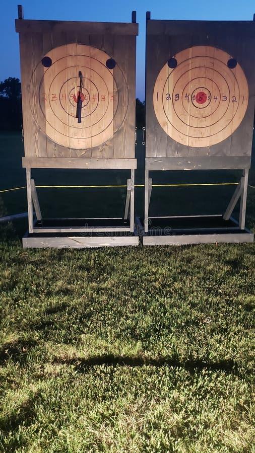 Bijl die bullseye gras werpen stock fotografie
