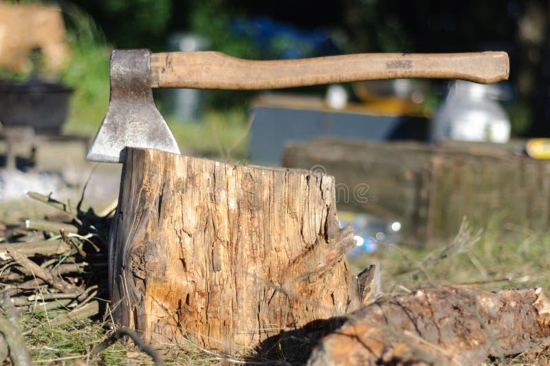 Bijl in een boomstomp in de ochtend in het kamperen royalty-vrije stock foto
