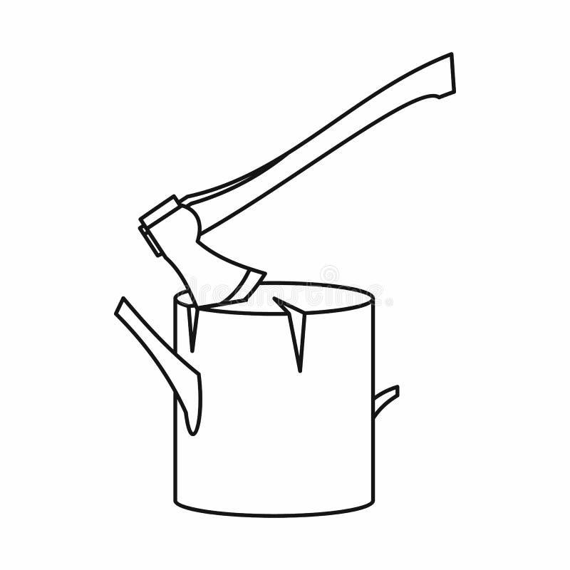 Bijl in een pictogram van de boomstomp, overzichtsstijl wordt geplakt die vector illustratie