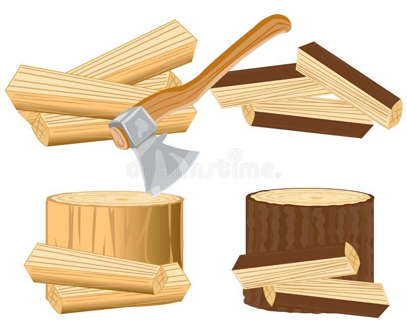 Bijl en brandhout stock illustratie