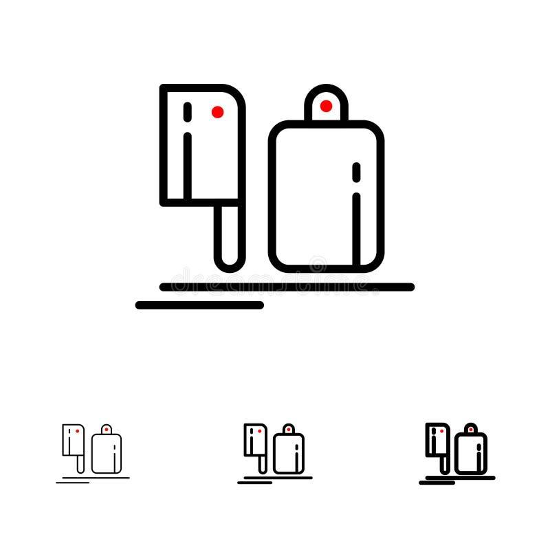Bijl, Keuken, Chef-kok, Voorbereiding, het pictogramreeks van de Voedsel Gewaagde en dunne zwarte lijn vector illustratie