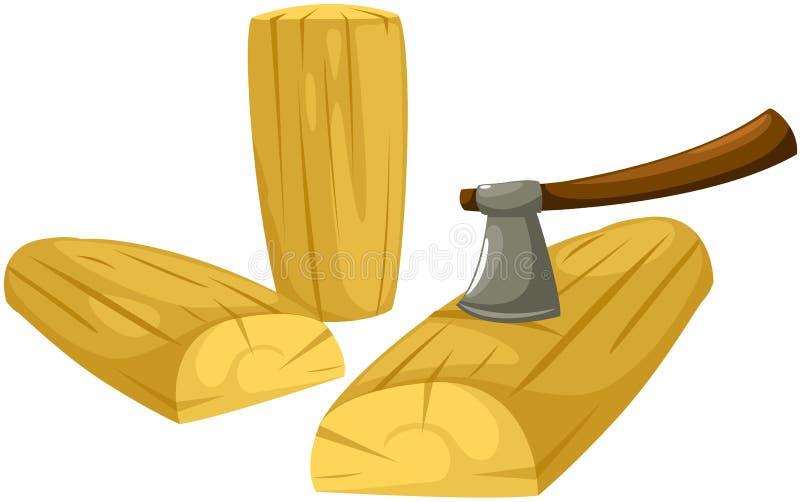 Bijl met brandhout royalty-vrije illustratie