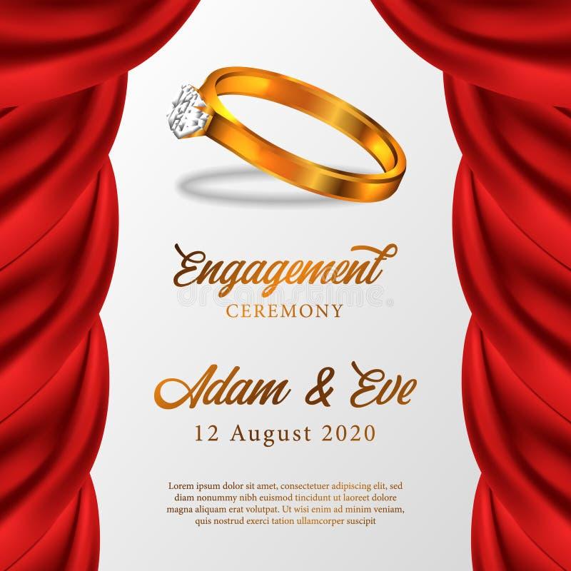 bijou de diamant d'anneau d'or 3D pour la cérémonie de bannière d'affiche d'engagement illustration de vecteur