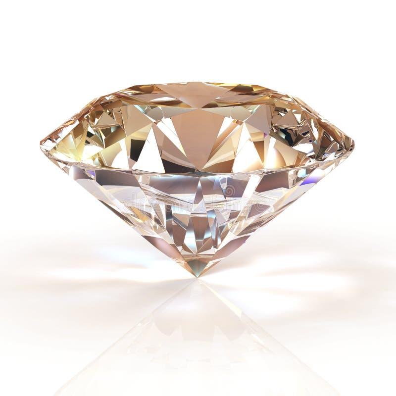 Bijou de diamant de photo sur le fond blanc Belle image brillante de scintillement d'émeraude de forme ronde 3D rendent brillant illustration stock