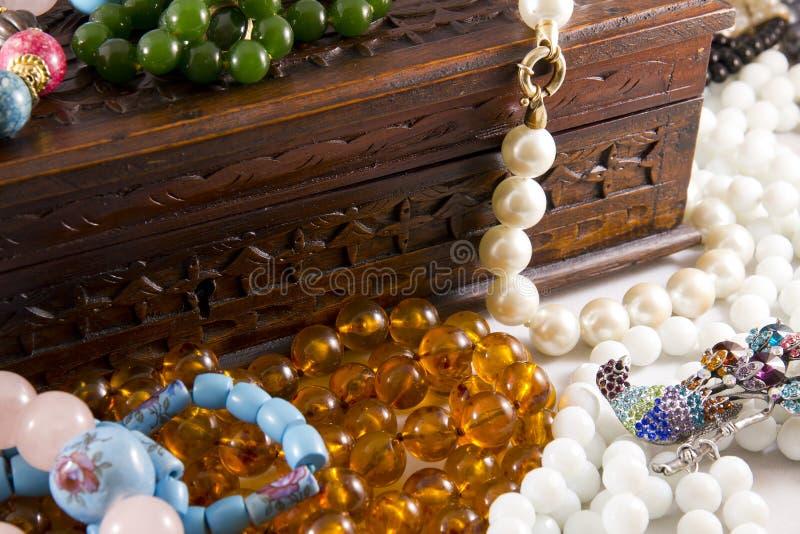 Bijouteria. Closeup, necklaces with colored stones, jewelry, bijouteria royalty free stock photo
