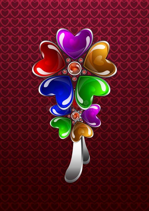 Bijouterie heart-shaped lucido illustrazione di stock