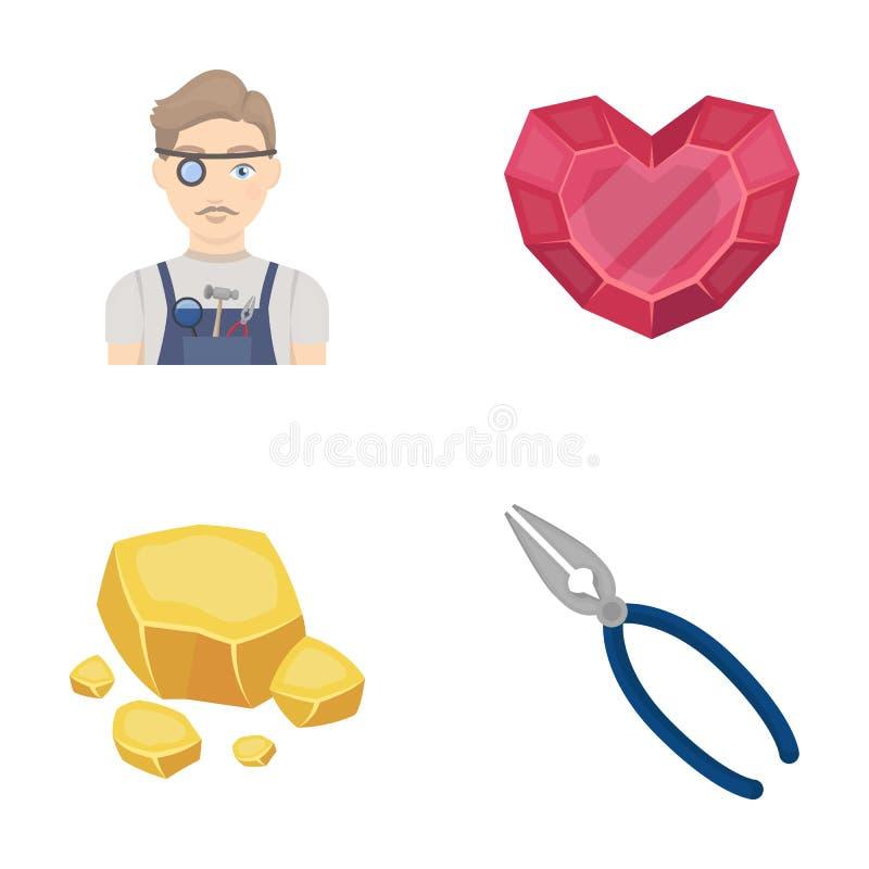 Bijoutier, pinces, minerai d'or, grenat sous forme de coeur Minerais précieux et icônes réglées de collection de bijoutier dans l illustration de vecteur