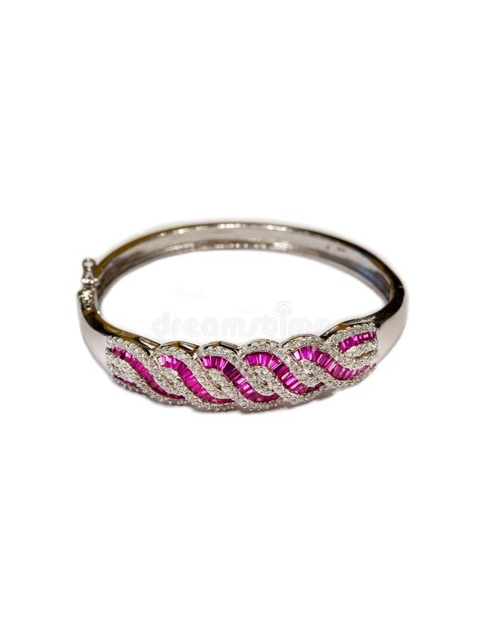 Bijoux argentés de bracelet avec la pierre pourpre image stock