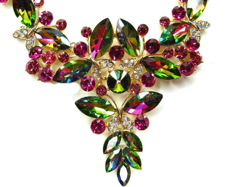 Bijoux avec la mode lumineuse de luxe de collier de cristaux photographie stock libre de droits