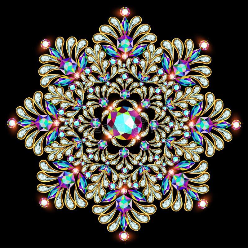 Bijoux de broche de mandala, élément de conception Tapotement floral ethnique tribal illustration stock