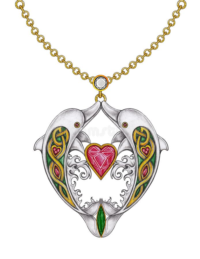 Bijoux de collier de coeur de dauphins de mélange d'Art Celtic illustration libre de droits
