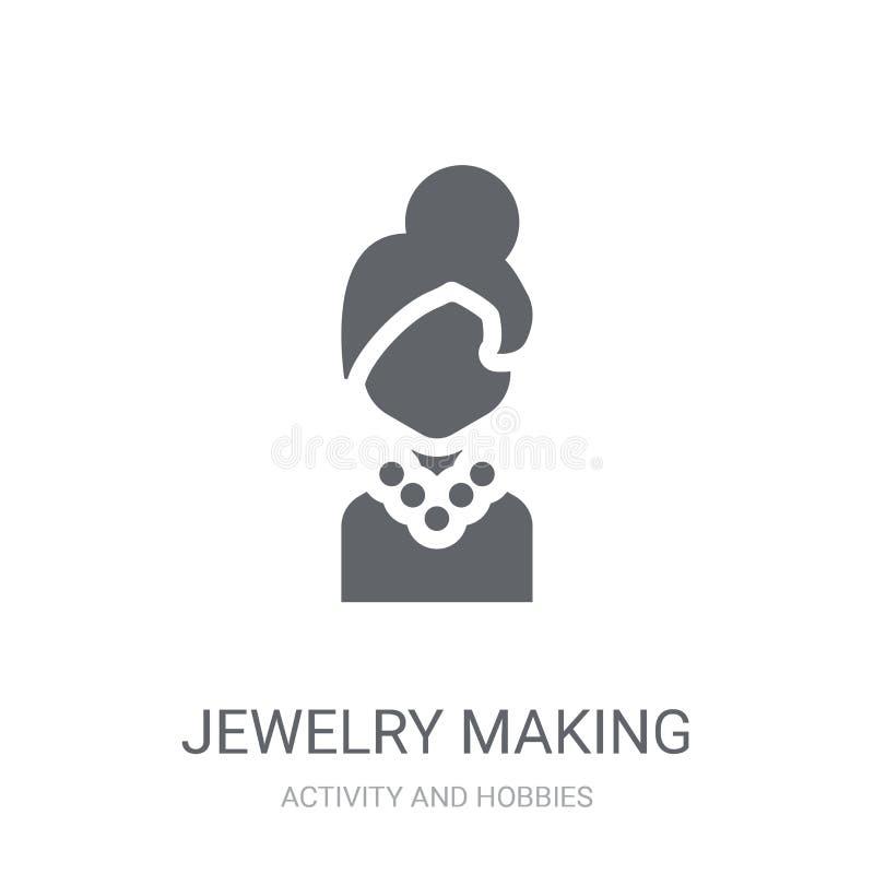 Bijoux faisant l'icône Bijoux à la mode faisant le concept de logo sur le blanc illustration stock