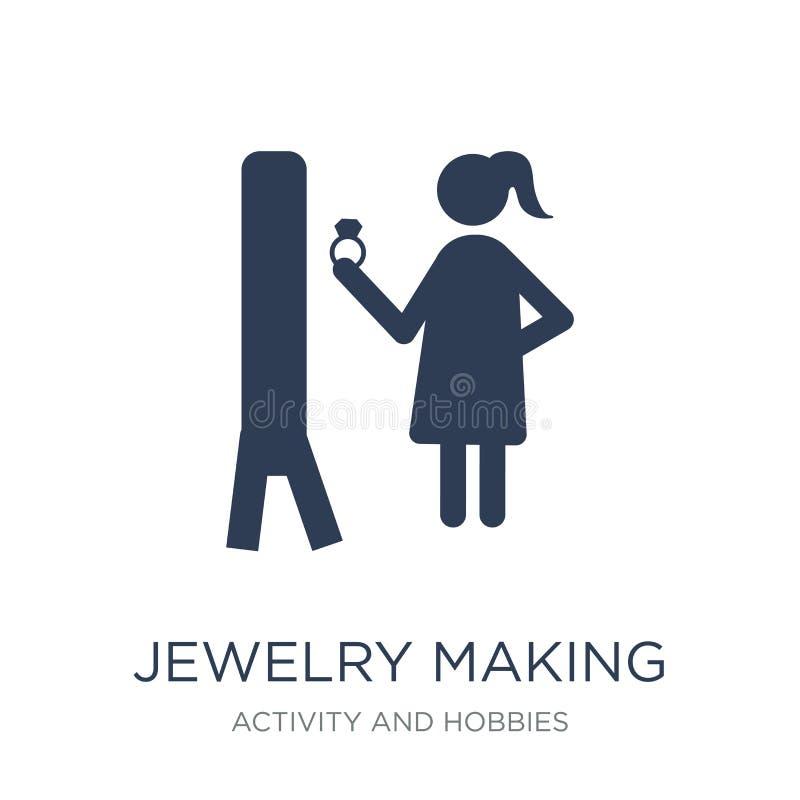 Bijoux faisant l'icône Bijoux plats à la mode de vecteur faisant l'icône sur W illustration libre de droits