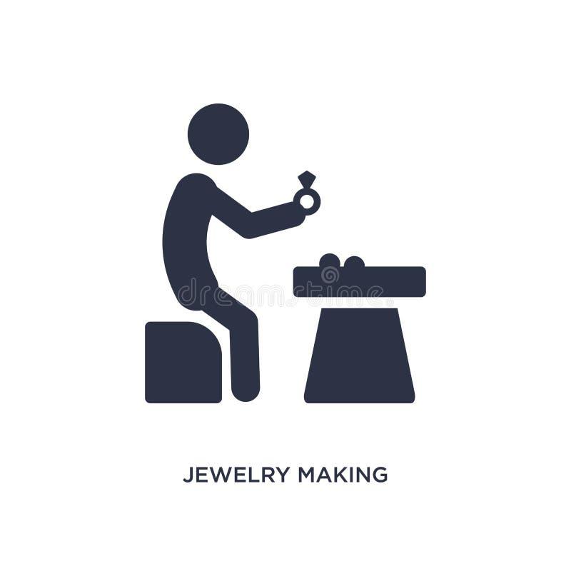 bijoux faisant l'icône sur le fond blanc Illustration simple d'élément d'activité et de concept de passe-temps illustration de vecteur