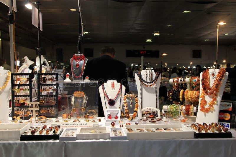 Bijoux, gemme et exposition minérale photo stock