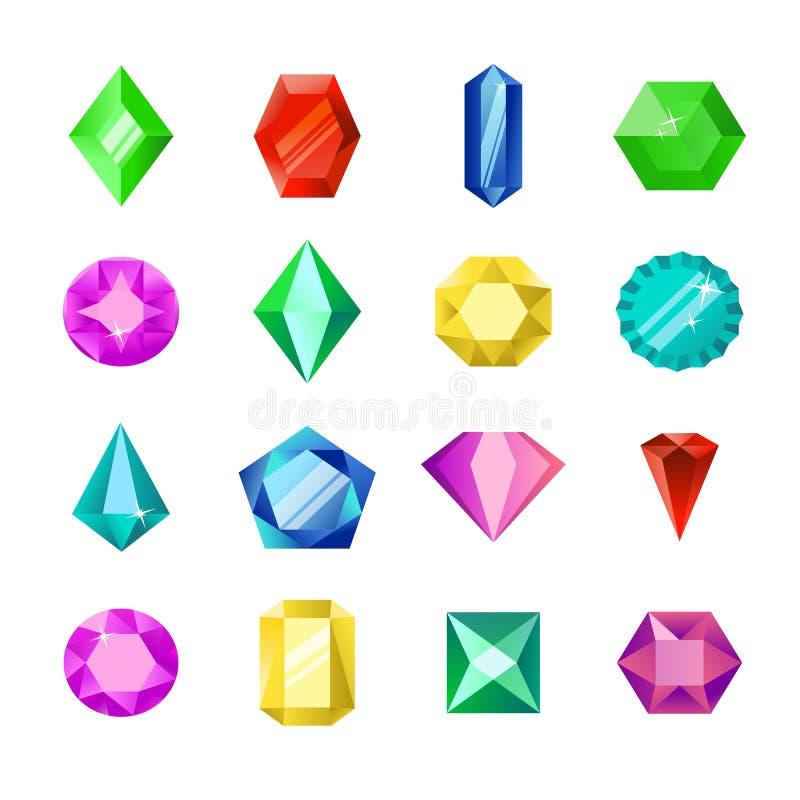 Bijoux ou ensemble brillant de vecteur de diamants Bijoux plats de gemmes de bande dessinée Pierre gemme et cristal, éléments en  illustration de vecteur