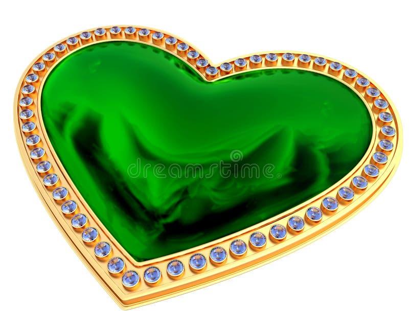 Bijoux verts de coeur illustration de vecteur
