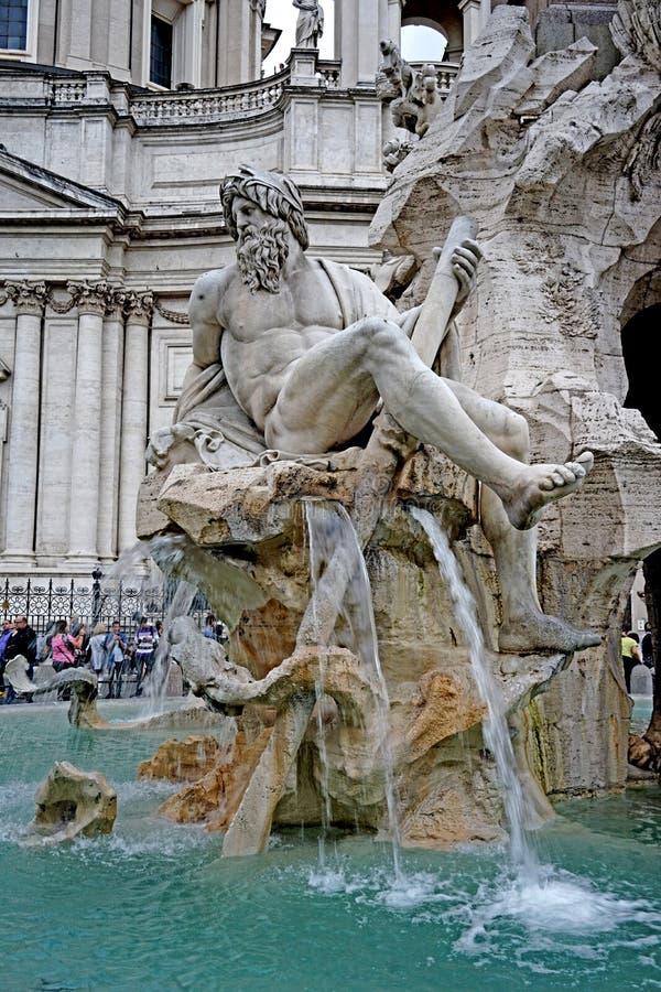 Bijzonder van de Fontein van de Vier Rivieren in Rome stock fotografie