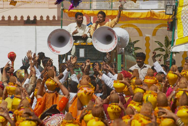 A crowd of Rajasthani people take part in a religious ceremony in Bikaner, India. stock image