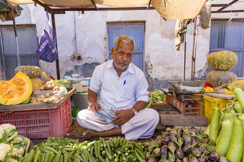 People sell their fresh fruits and vegetables at the outdoor market in Bikaner, India. BIKANER, INDIA - OCT 24, 2012: people sell their fresh fruits and stock images
