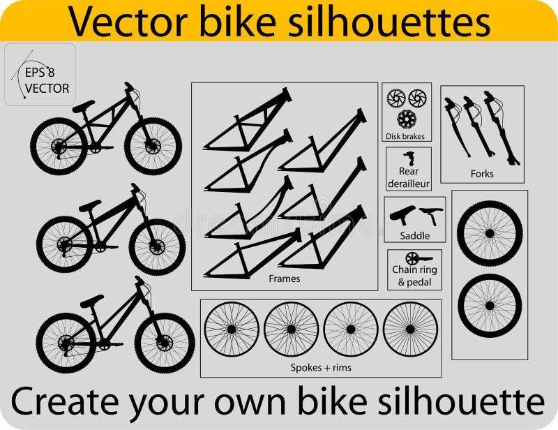 bike создает силуэты иллюстрация вектора