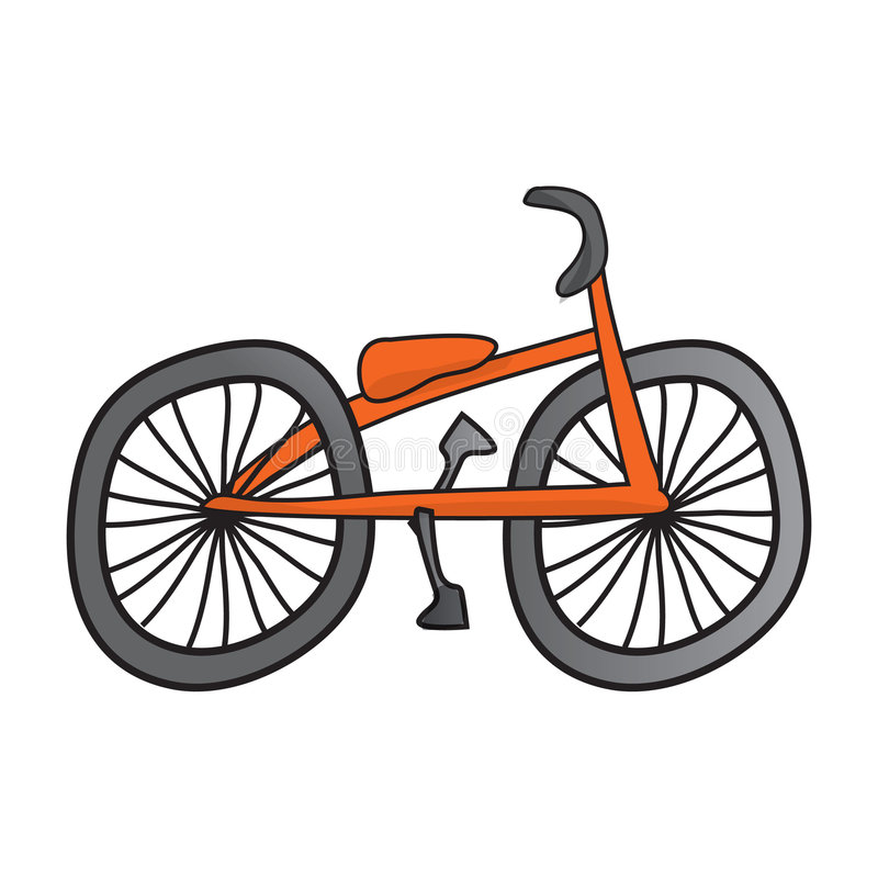 Bike. Illustrated simple bike orange and grey