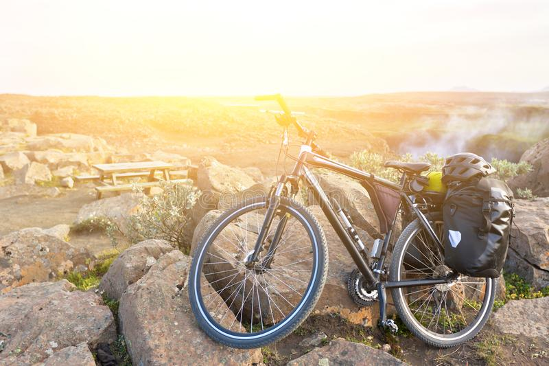 Bike with active equipment at Iceland mountains scene stock image