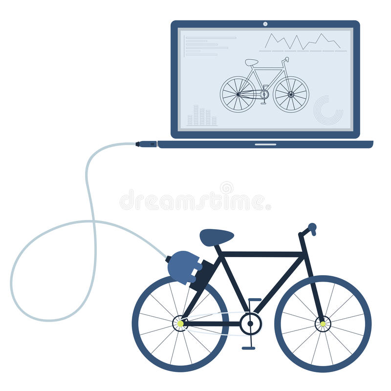 Bike automation using laptop. Bike connected to a laptop through a usb cable. Outline of the bike and graphs being shown on the computer monitor. Flat design vector illustration