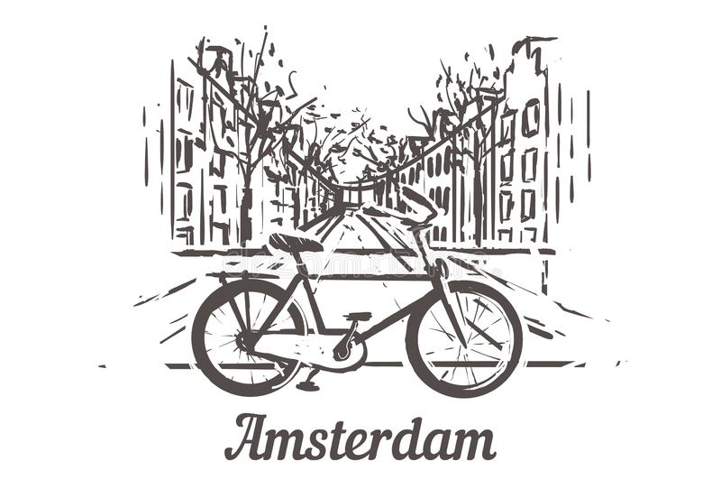 The bike on the background of Amsterdam`s streets with a water channel royalty free illustration