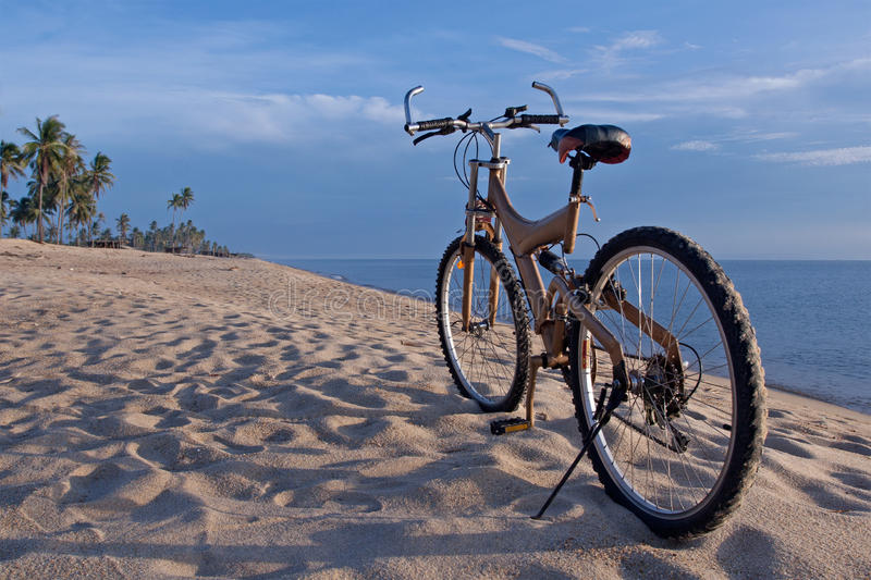 Bike at the beach stock images